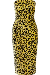 Alex Perry Nolan Strapless Leopard Print Velvet Midi Dress Yellow