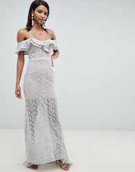 Jarlo All Over Lace Frill Bardot Fishtail Maxi Dress In Grey Soft Grey