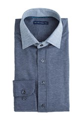 Etro Cotton Micro Striped Shirt With Contrast Collar Blue