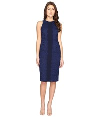 Maggy London Fan Leaf Lace Midi Dress Blue Indigo Women's Dress