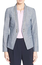 Women's Ivanka Trump Zip Detail Linen And Cotton Jacket