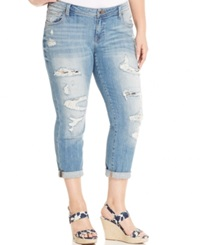 Lucky Brand Jeans Plus Size Ripped Cuffed Boyfriend Jeans