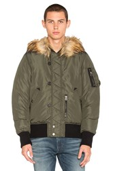 Diesel Esk Jacket With Faux Fur Green