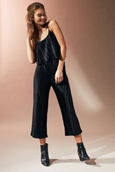 Urban Outfitters Uo Plisse Velvet Cropped Two Piece Set Black