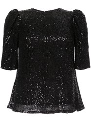 Rachel Gilbert Nancy Shoulder Detail Sequin Top Black