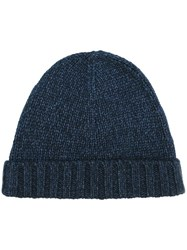Loro Piana Ribbed Beanie Blue