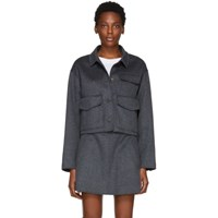 Carven Grey Cashmere And Wool Jacket