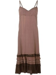 Comme Des Garcons Vintage Polka Dot Frayed Edge Dress Brown