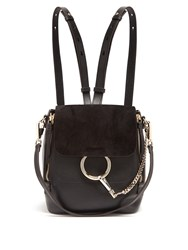 Chloe Faye Small Suede And Leather Backpack Black