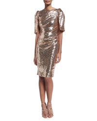 Talbot Runhof Lobata Cape Sleeve Sequined Sheath Cocktail Dress Rose Golden