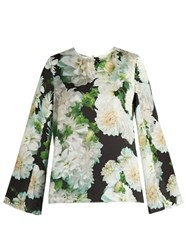Adam By Adam Lippes Long Sleeved Floral Print Satin Top