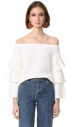 Endless Rose Off Shoulder Tiered Sleeve Top Ivory