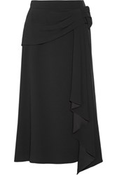 Prada Draped Crepe Midi Skirt Black