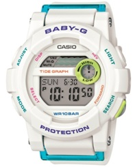 Baby G Women's Digital White Resin Strap Watch 49 X 44 X 14Mm Bgd180fb 7