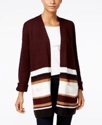 Styleandco. Style Co. Striped Colorblocked Cardigan Only At Macy's Deep Black Combo