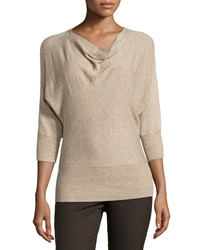 Neiman Marcus Drape Neck Knit Sweater Heather Shell