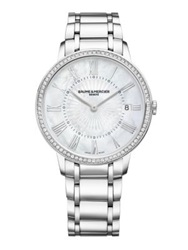 Baume And Mercier Classima Diamond Mother Of Pearl And Stainless Steel Bracelet Watch Silver