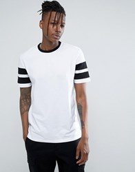 Asos Relaxed T Shirt With Contrast Stripe Sleeve In White Black White Black Multi