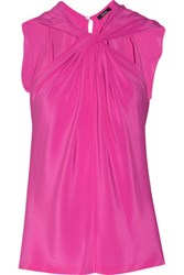 Raoul Terra Twisted Front Silk Crepe De Chine Blouse Pink