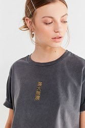 Urban Outfitters Embroidered Kanji Cropped Tee Washed Black