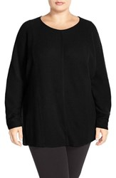 Plus Size Women's Sejour Wool And Cashmere Dolman Sleeve Sweater Black