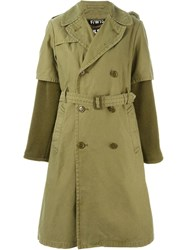 Nlst Contrast Sleeve Trench Coat Green