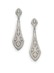 Adriana Orsini Art Deco Crystal Drop Earrings Silver
