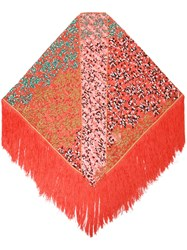 Missoni Fringed Scarf Women Rayon One Size Red