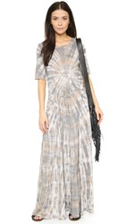 Raquel Allegra Drawstring Waist Maxi Dress Smokey Topaz Tie Dye