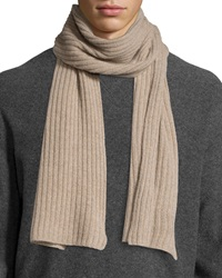 Portolano Cashmere Ribbed Scarf Nile Brown