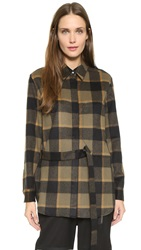 3.1 Phillip Lim Classic Collar Flannel Shirt Camel Black