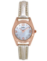 Jolie Ladies Rose Goldtone Crystallized Watch With Cream Leatherette Strap Beige