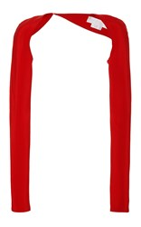 Romona Keveza Long Sleeve Crepe Shrug Red