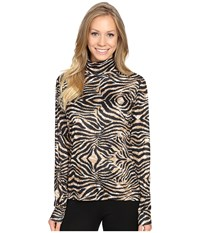 Hot Chillys Peach Print T Neck Tiger Women's Clothing Multi