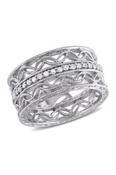 Sterling Silver Diamond Cutout Leaf Motif Ring 0.16 Ctw Metallic