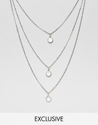 Reclaimed Vintage Multirow Chain Necklace Silver