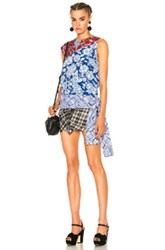 Msgm Sleeveless Top In Blue Floral Geometric Print Red Blue Floral Geometric Print Red