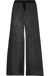 Balmain Silk Georgette Wide Leg Pants Black