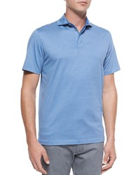 Ermenegildo Zegna Skinny Stripe Polo Shirt Bright Blue