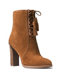 Michael Kors Odile Lace Up Block Heel Booties Luggage