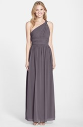 Women's Donna Morgan 'Rachel' Ruched One Shoulder Chiffon Gown Charcoal