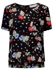 John Lewis Collection Weekend By Riverboat Floral Top Black Multi