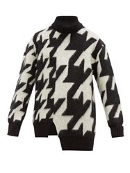 Alexander Mcqueen Blown Out Houndstooth Mohair Blend Sweater Black White