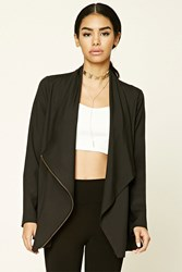 Forever 21 Asymmetrical Cowl Neck Jacket Black