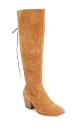 Sole Society Women's Claudia Knee High Boot Cognac Suede
