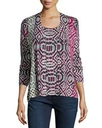 Neiman Marcus Cashmere Collection Tribal Print Cashmere Cardigan Women's