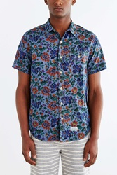 Cpo Chambray Painterly Floral Button Down Shirt Blue