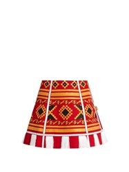 Vita Kin Croatia Embroidered Linen Skirt Red Multi