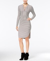 Material Girl Juniors' Lace Up Bodycon Dress Only At Macy's Cloud Dancer Combo