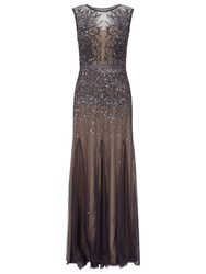 Adrianna Papell Petite Long Beaded Gown Gunmetal